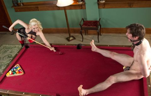 Mistress Cherry Torn Creative CBT Castity - Plays Billiards With Slave's BallsMistress Cherry Torn Creative CBT Castity - Plays Billiards With Slave's Balls