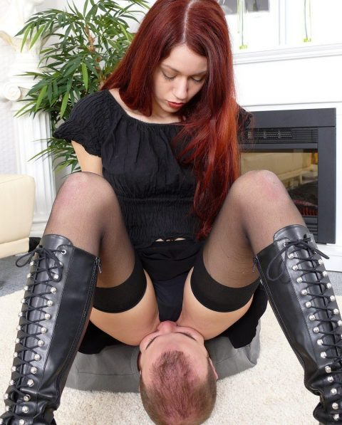 Slave and Mistress Luna's Ass Kiss Deep During Facesitting Humiliation