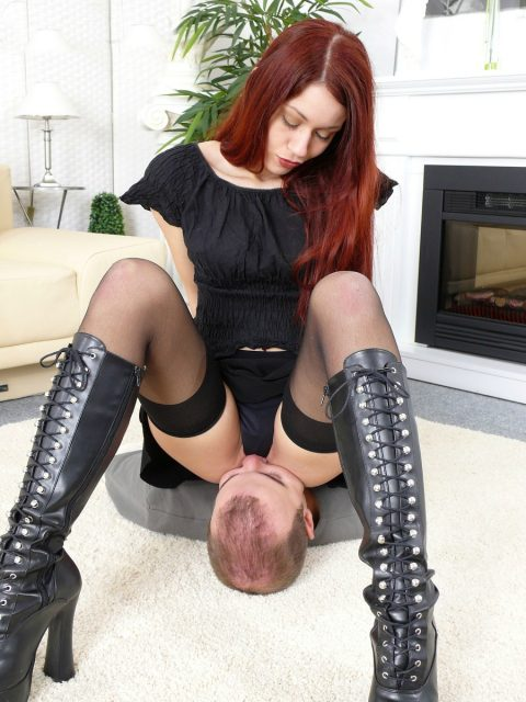 Redhead Mistress Luna Facesitting In Panty and Says: Inhale The Smell Of My Pussy and Ass You Pathetic Slave