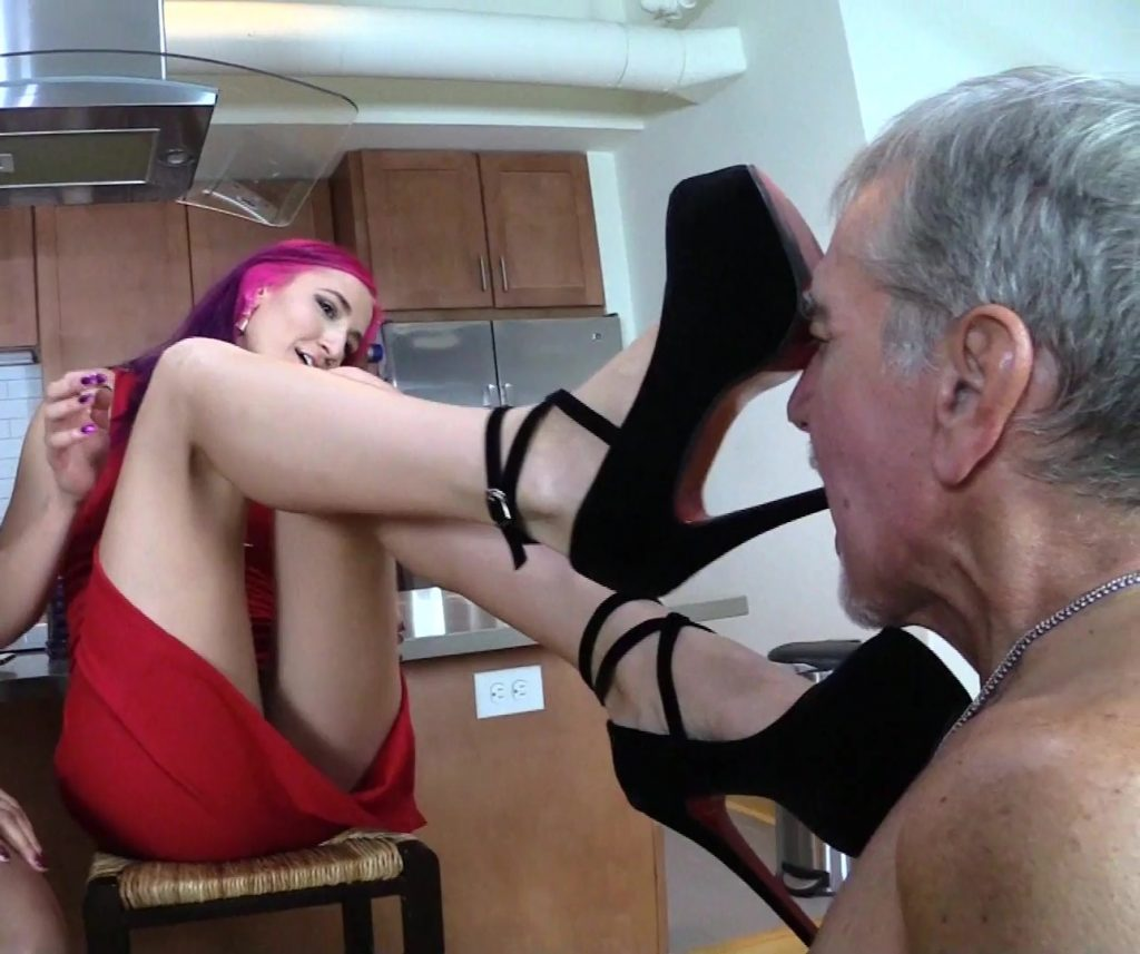 Submissive Grandpa Sucks Mistress Amadahy's High Heel