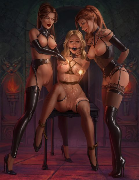 Very Hot Art Threesome Lezdom BDSM - Hot Wax Torture With Two Cruel Dominas In Fetish Clothing