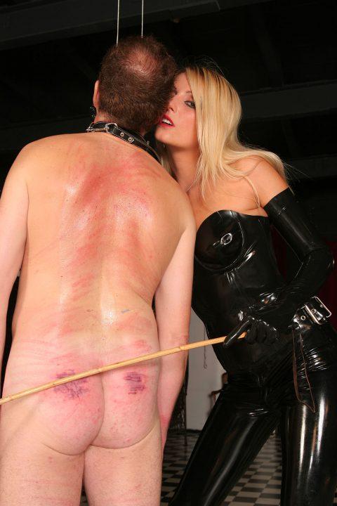 Latex Mistress Melissa Hard Whip and Caning To Bondage Nude Slave