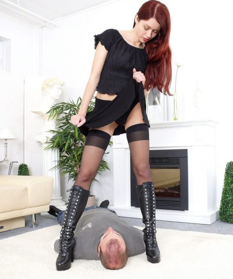 Princess Luna In Black Panties Stands Above Slave Head Preparing To Sit On His Face