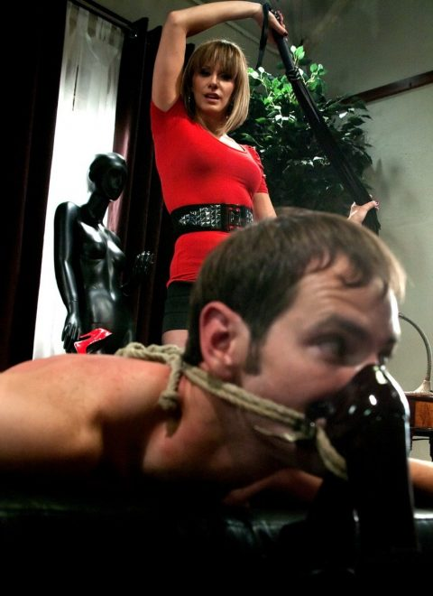 Mistress Madeline Marlowe Tied Her Worn Shoes To The Face Of a Slave So That He Breathed The Smell Of Her Sweat While Whip Him