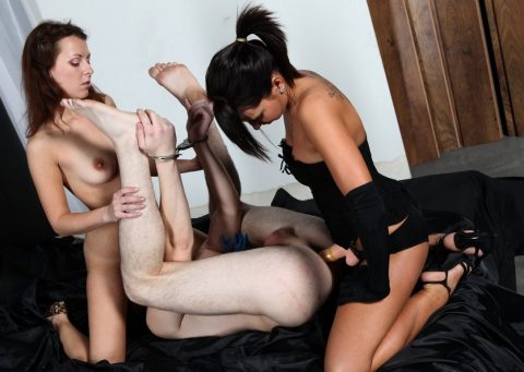 Slave In Handcuffs Legs-Up For Mistress Megan Vale Strap-on Fuck His Anal Hole