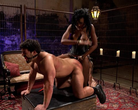 Brutal Mistress Nyomi Banxxx Strapon Fuck Her Slave In Doggystyle and Spanking Him