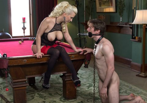 Pinocchio Slave Knelt Before Mistress Cherry Torn - Face-Dildo Femdom