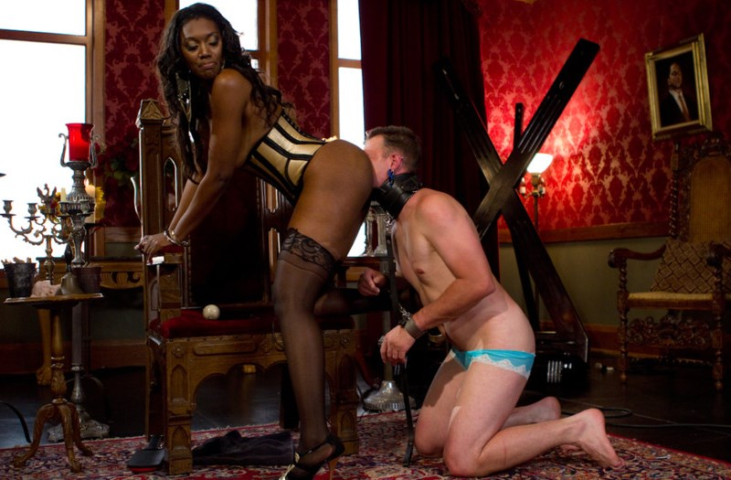 Feminized White Sissy Slut Knelt For Rimjob Black Ass With Ebony Mistress Nyomi Banxxx