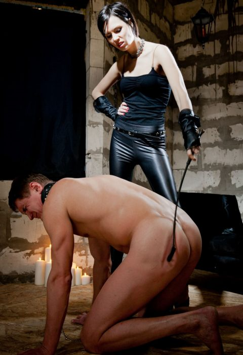 Punished Slave Knelt For Skinny Mistress Jane Whipping His Ass