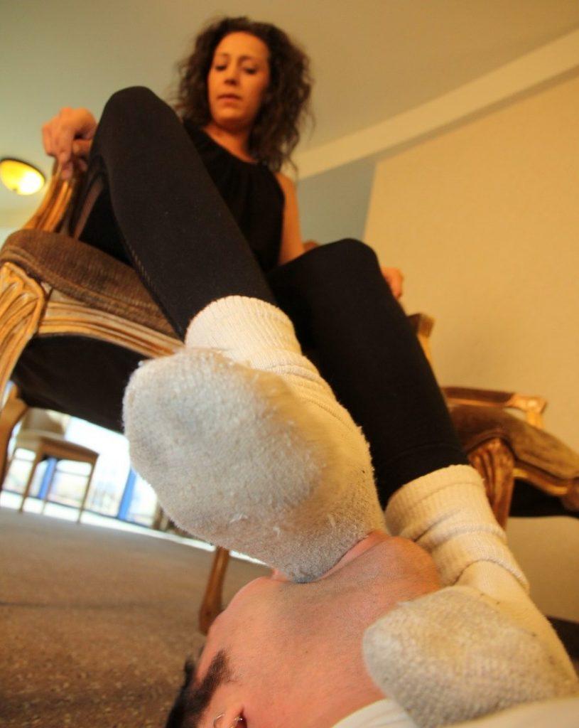 Dirty Socks Heel Gagging Female Domination Close-up