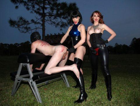 Two Cruel Strapon Mistresses Jean Bardot and Kendra James Anal Fucks Slut Slave Outdoor