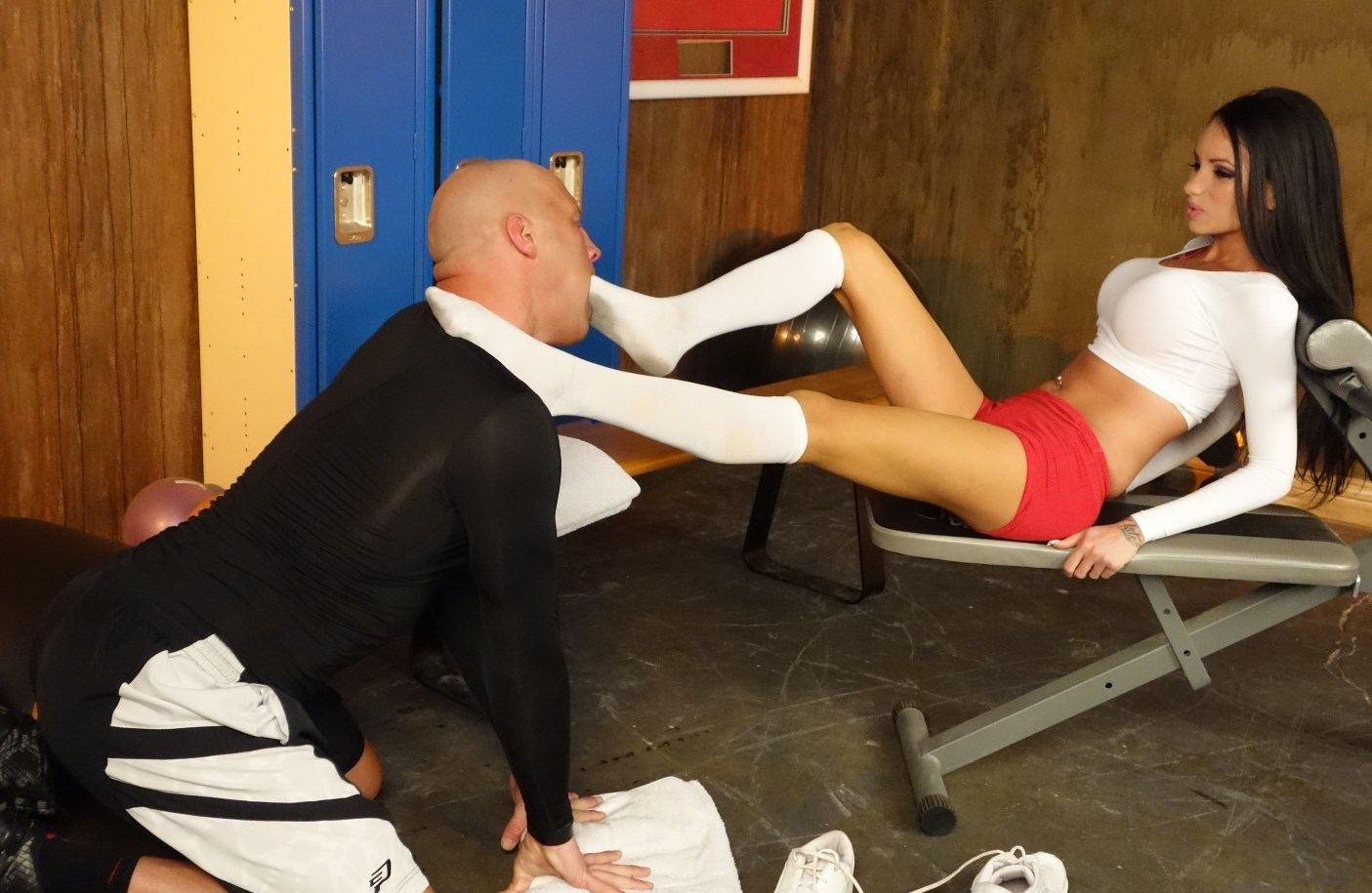 Bald Coach Knelt in Front of Raven Bay for Foot Gagging Femdom In Dirty Socks After Gym