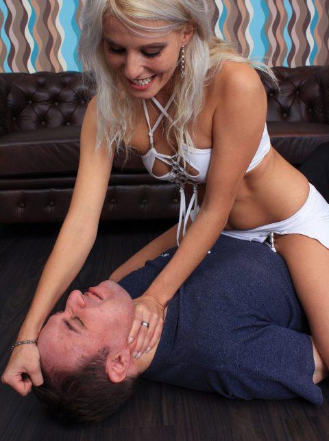 Cruel German Blond Mistress Melissa Smothers Her Slave For Perverted Pleasure