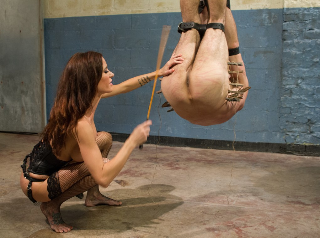 Merciless Domina Gia DiMarco Extreme BDSM Caning Her Suspended Captive Slave