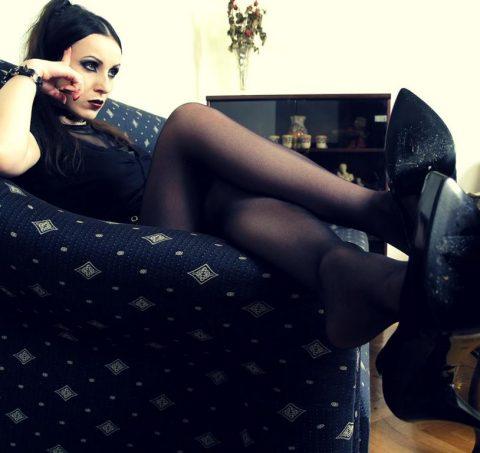 Majestic Gothic Goddess Bojana In Black Nylon and High Heels Shoes Sitting Solo