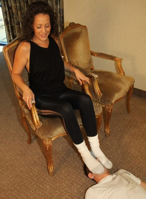 Footrest Subby Husband For White Socks With His Dominant Wife In Yoga Pants