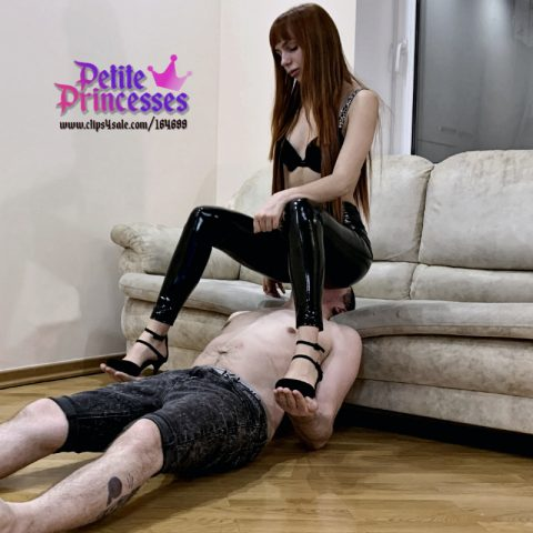 Hot Teen and Petite Mistress Fullweight Facesitting In Latex Leggings on Her Chair Slave - Petite Princesses Femdom