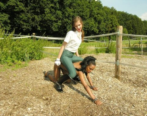 Interracial Lezdom Pony Play Outdoor - Ebony Nude Slavegirl and White Mistress