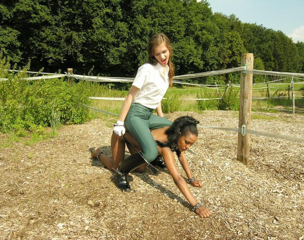 Interracial Lezdom Pony Play Outdoor - Ebony Nude Slavegirl and White Mistress