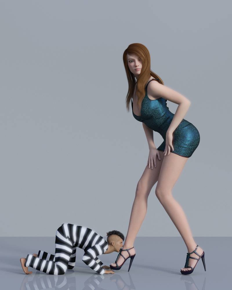 Reduced Captive Slave Knelt Before Giantess Goddess In High Heels Fo Foot Worship Femdom Art