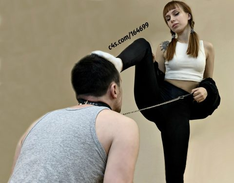 Pigtailed Teen Mistress In Leggings Humiliation Her Slave