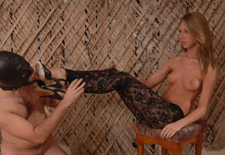 Servant Slave Licks Dirty Soles With Blonde Russian Mistress In Fishnet Tights