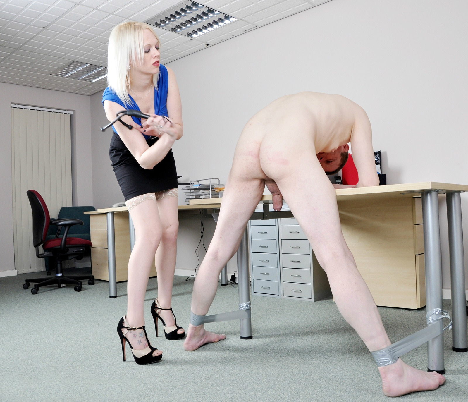 Skinny Blonde Goddess Heather In Stockings and High Heels - Hard Punishment Spank Her Bondaged Nude Slave CFNM BDSM