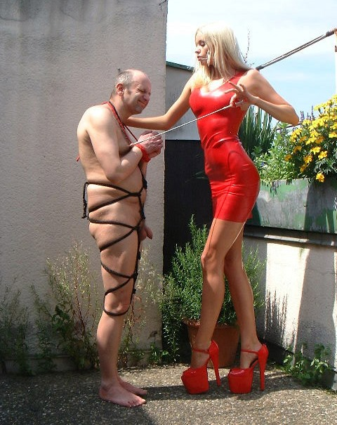 Tall Mistress In High Heels and Latex Dress - Bondage Her Slave Outdoor CFNM Femdom