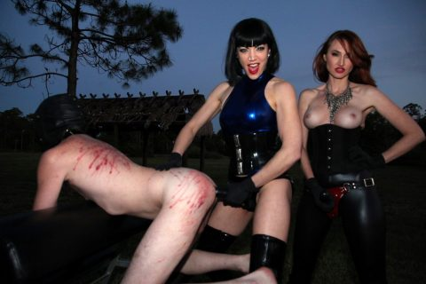 Two Sadistic Milf Dominas In Fetish Clothing - Hard Strapon Anal Fuck Bondaged Slave Outdoor