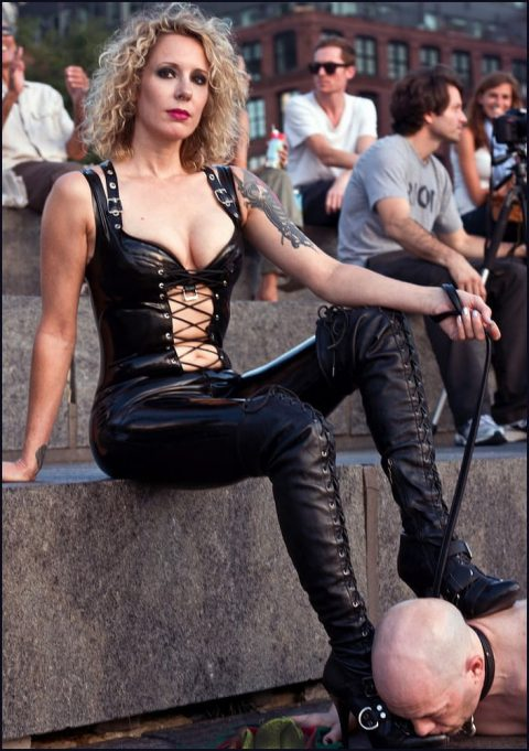 Bald Submissive Husband Kiss His Dominant Wife's Leather Boot - Public Femdom Humiliation and Latex Fetish
