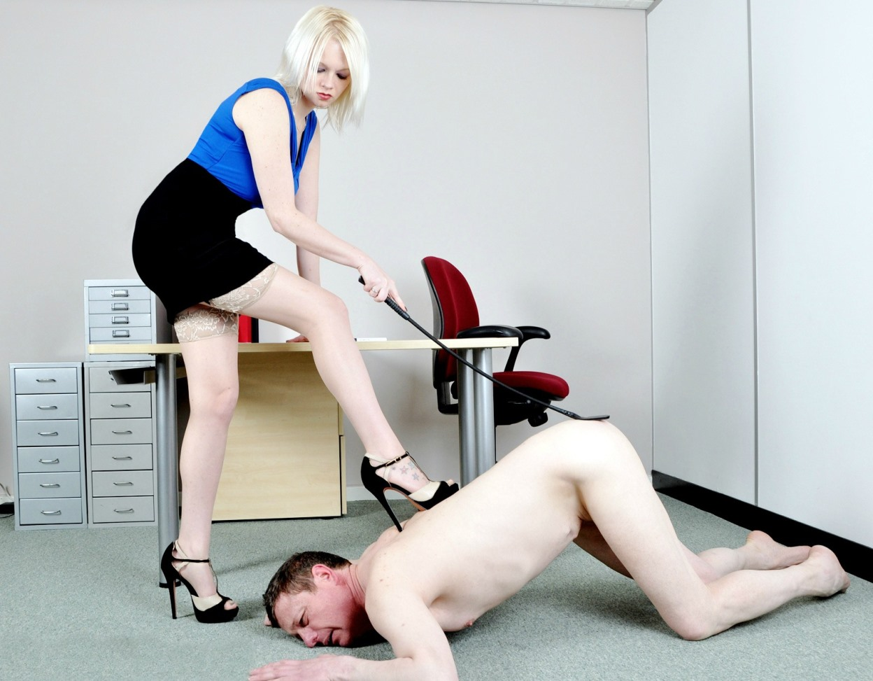Boss Mistress Heather in Stockings and High Heels Spanking Punish Nude Slave In Office