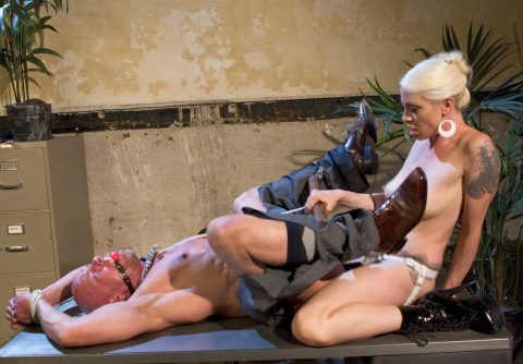 Brutal Milf Mistress Lorelei Lee Strapon Anal Fucks Bondaged Bald Slave Bitch