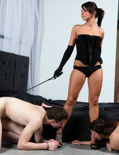 Strong Divine Goddess Megan Vale In Lingerie Trains Her Different Sex Slaves - Group Foot Worship Femdom