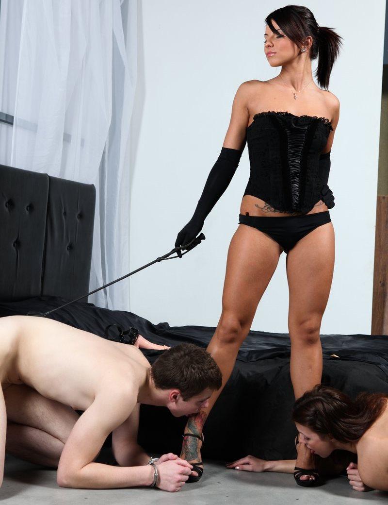 Strong Divine Goddess Megan Vale In Lingerie Trains Her Different Sex Slaves - Group Foot Worship Femdom