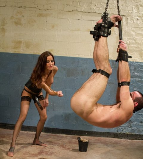 Hot and Brutal Strapon Milf Mistress Gia DiMarco in Fishnet Stockings - Hard Caning and Whipping Suspended Captive Slave