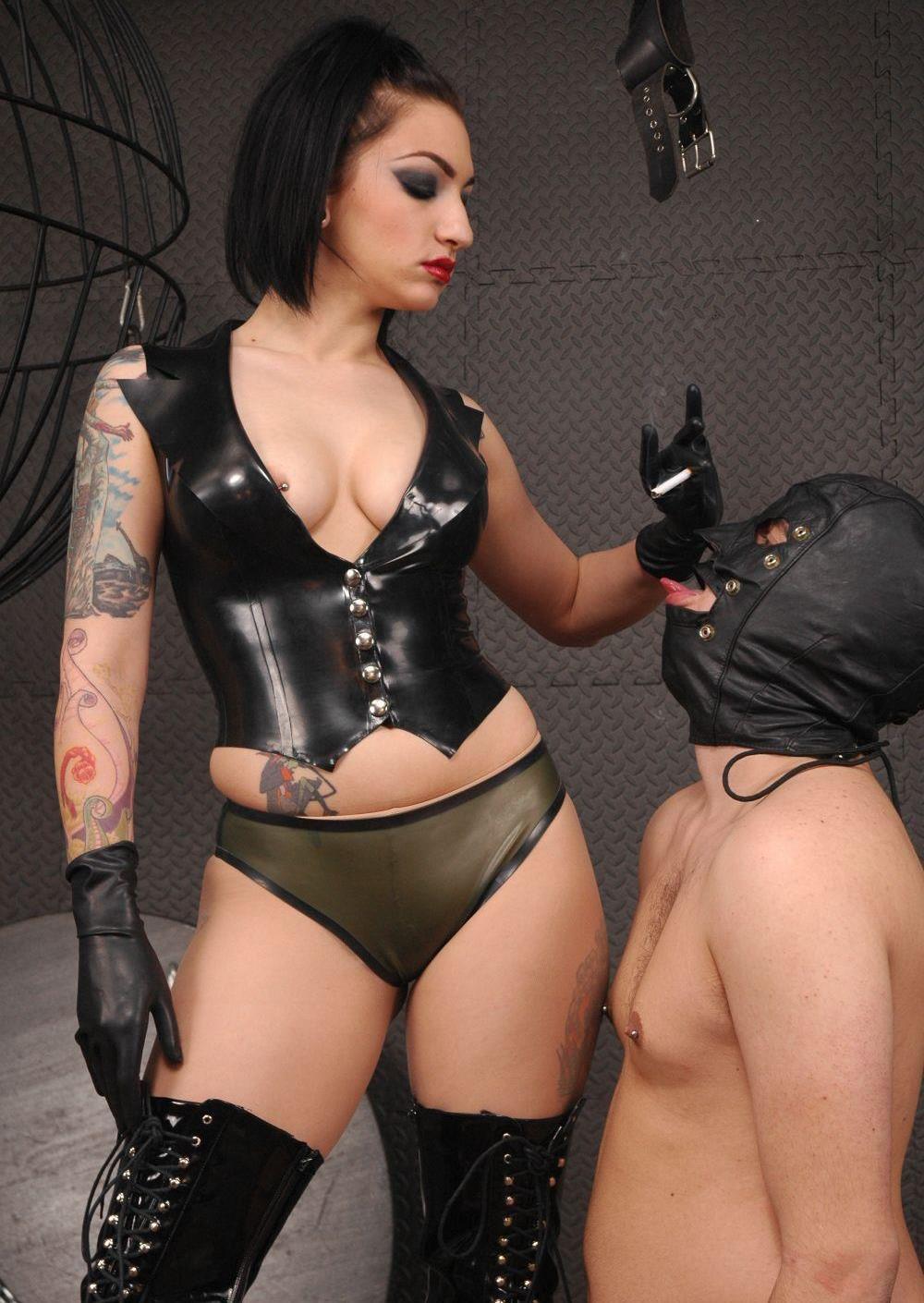 Masked Human Ashtray Slave Eat Ash With Smoking Goddess Cybill Troy