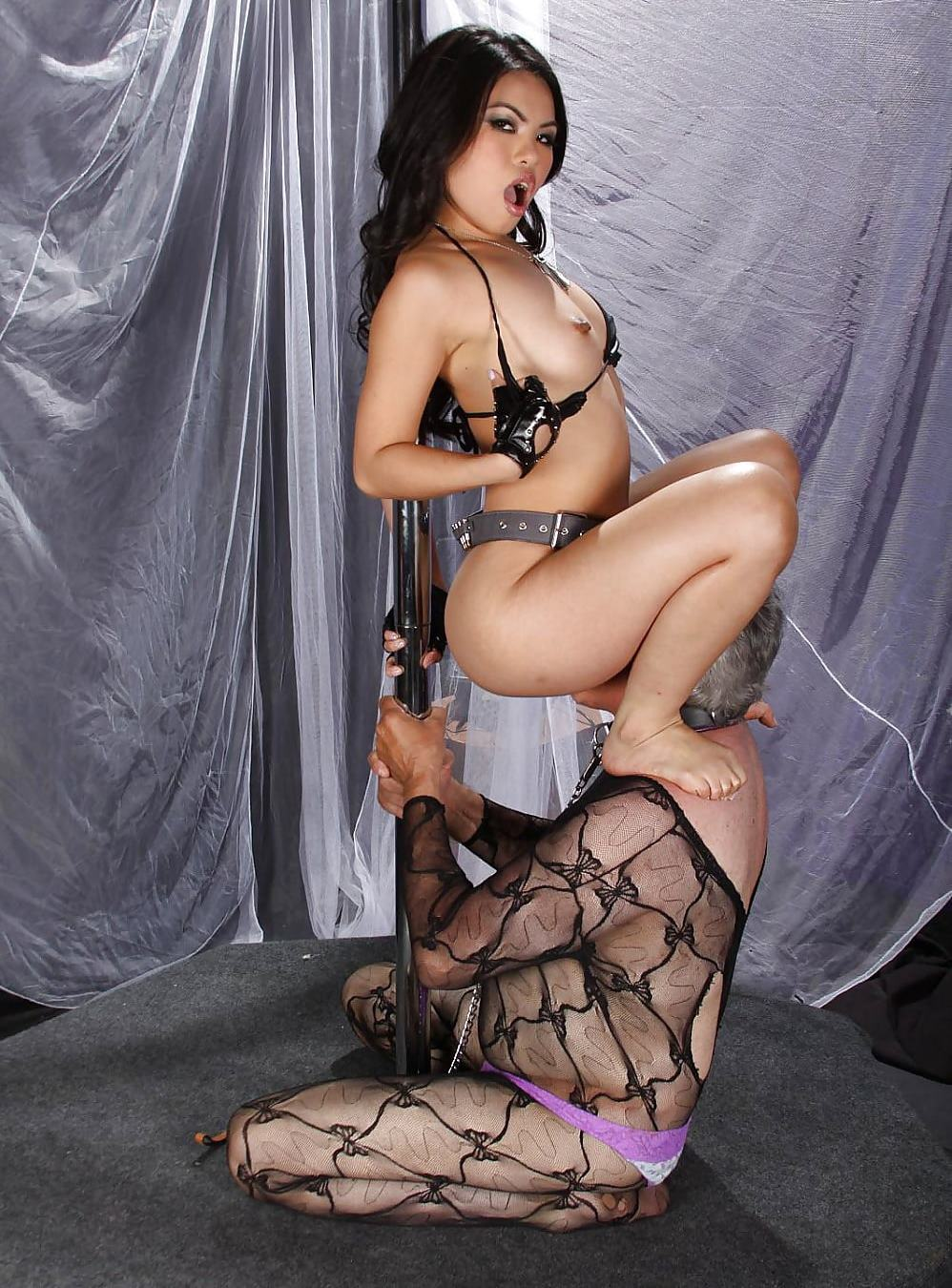 Old Sissy Slut In Women's Clothing Knelt Before Young Asian Mistress For Pussy Licking - Feminization Femdom