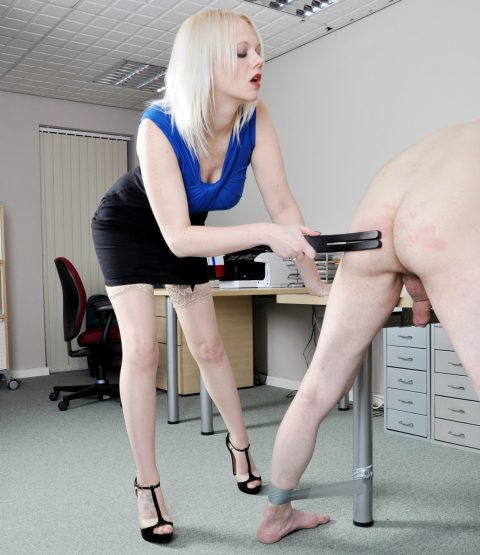 Pervert Blonde Mistress Heather In Strict Clothes and Stockings - Spank Punishes Her Submissive Slave-Boss CFNM