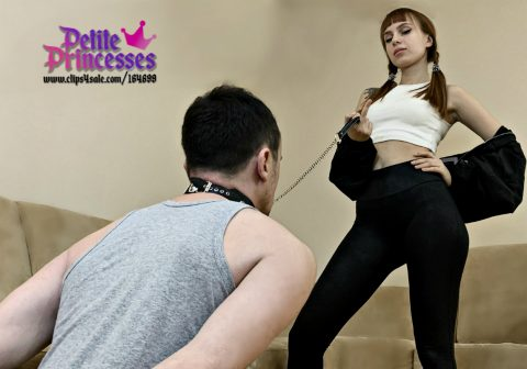 Dominant Pigtailed Stepsister Kira Enslaved Her Steprother In Collar and Now Slave Must Worship His Petite Goddess In Leggings