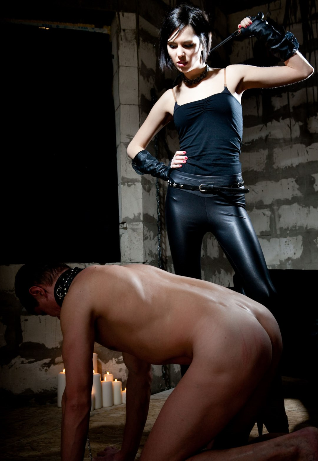 Skinny Russian Mistress Jane In Leather Pants Punishes Her Nude Slave - Whipping Him