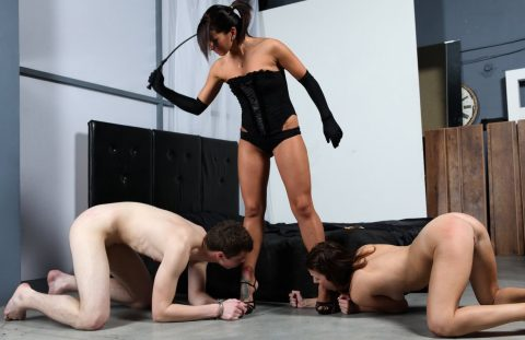 Slavegirl and Slaveboy Knelt Before Goddess Megan Vale For Worship Her