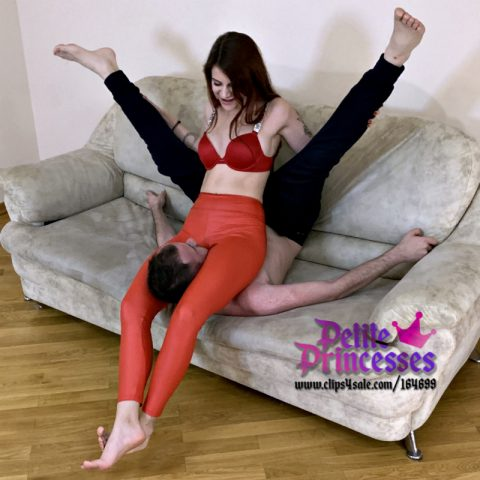 Redhead Mistress Sofi in Red Leggings - Sccissor Hold Suffocation Femdom in Extreme Pose