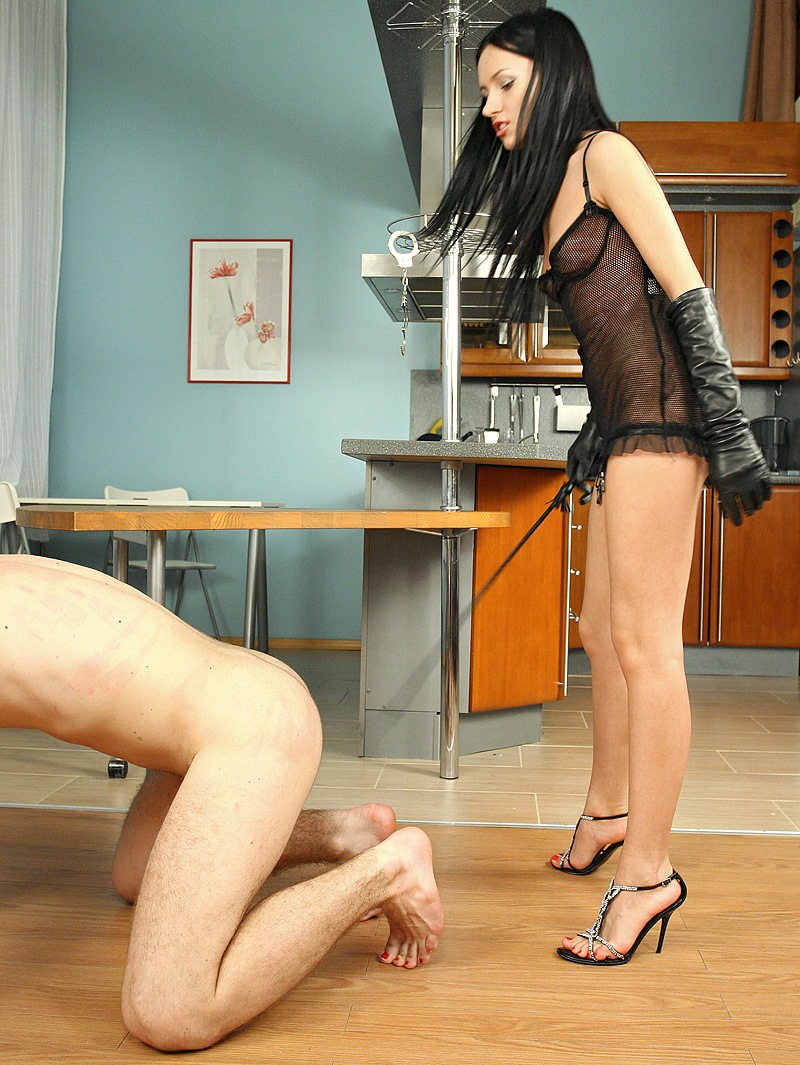 Teen and Thin But Cruel Mistress Sasha Rose Hard Whip Punishes Her Submissive Boyfriend