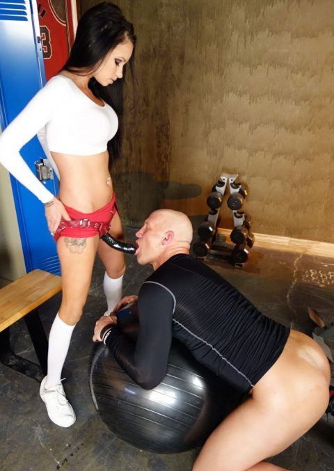 Athletic Bald Slave Knelt For Sucking Strapon With Skinny Brunette Mistress Raven Bay