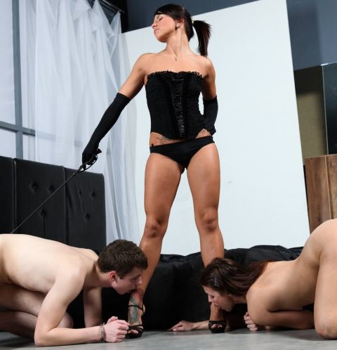 Chic Athletic Goddess Megan Vale In Black Lingerie and Her Two Slaves Who Worship Her Majesty
