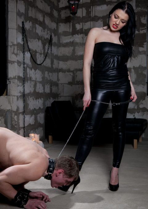 Loser Slave Knelt For Sucking Sexy Russian Mistress Stephanie's Leather Shoes - CFNM Foot Worship Female Domination