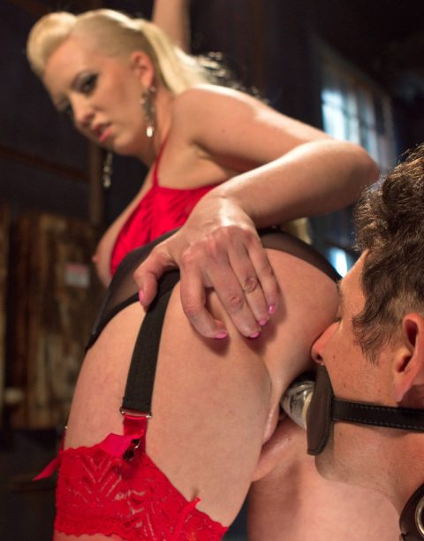 Slave With Face-Dildo Fucks His Blonde Mistress Cherry Torn - Pinocchio Femdom