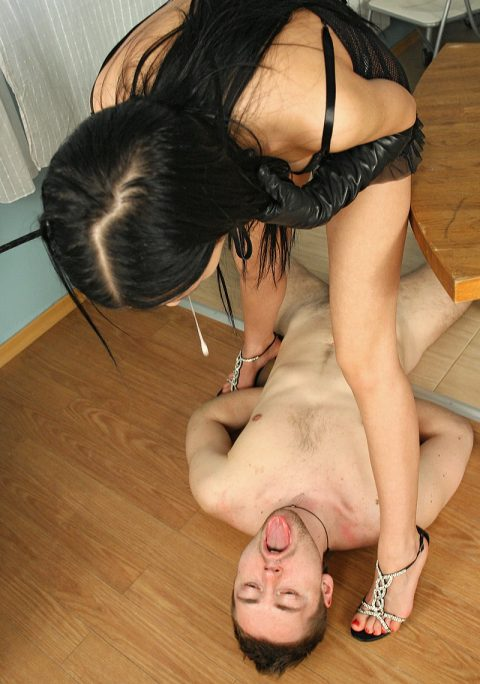 Thin Brunette Princess Sasha Rose Spit In Slaves Mouth - Spitting Femdom Humiliation