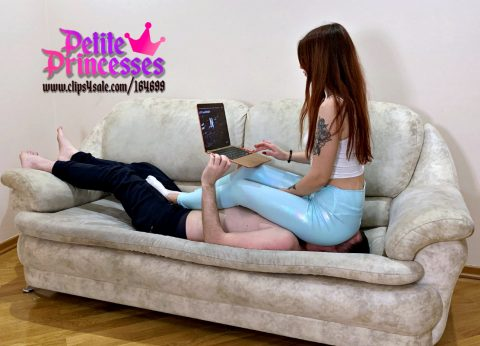 Human Furniture Slave For Mistress Sofi in Blue Yoga Pants - Fullweight Ignoring Facesitting Femdom