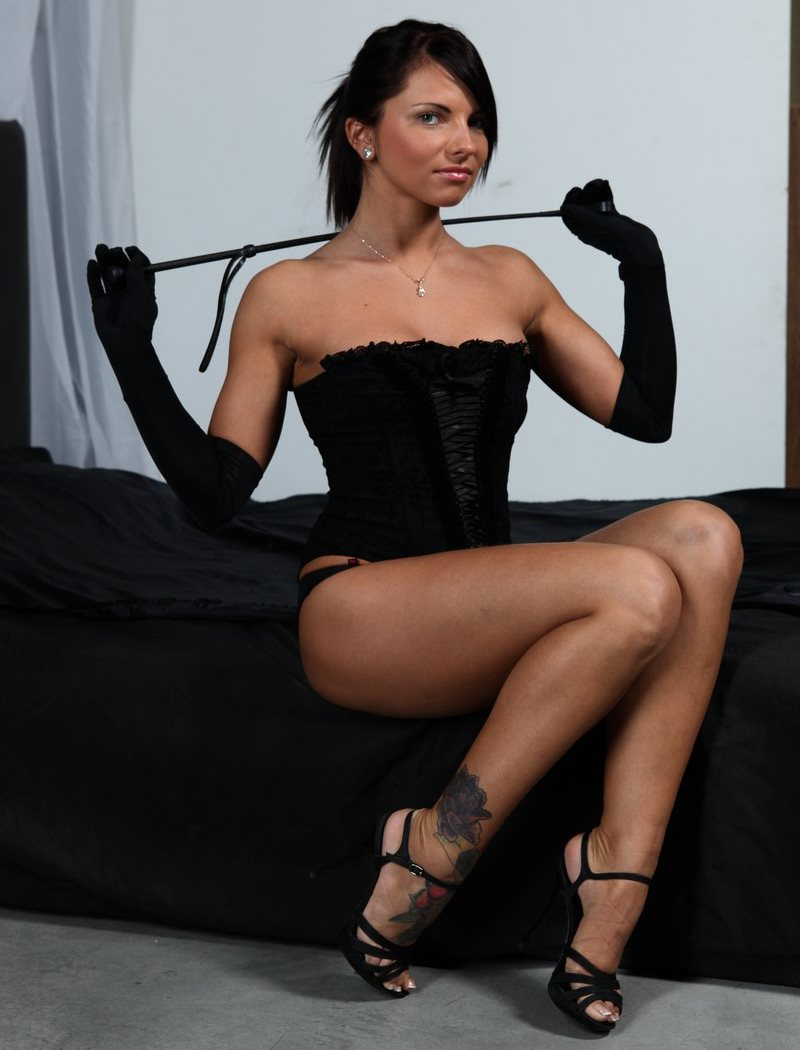 Amazon Russian Mistress Megan Vale in Black Gloves and Corset - Hard Brunette Goddess Solo With Whip